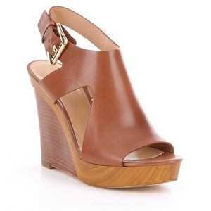 Michael Kors Josephine Brown Leather Wedges
